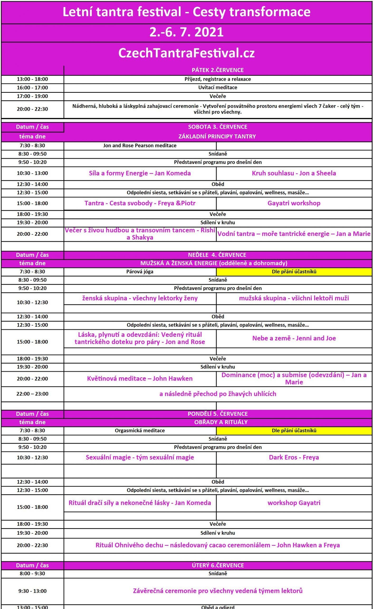 Tantra festival program